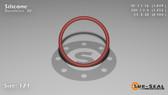 O-Ring, Orange Vinyl Methyl Silicone Size: 121, Durometer: 70 Nominal Dimensions: Inner Diameter: 1 2/41(1.049) Inches (2.66446Cm), Outer Diameter: 1 13/51(1.255) Inches (3.1877Cm), Cross Section: 7/68(0.103) Inches (2.62mm) Part Number: ORSIL121