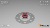 O-Ring, Orange Vinyl Methyl Silicone Size: 201, Durometer: 70 Nominal Dimensions: Inner Diameter: 13/76(0.171) Inches (4.34mm), Outer Diameter: 22/49(0.449) Inches (1.14046Cm), Cross Section: 5/36(0.139) Inches (3.53mm) Part Number: ORSIL201