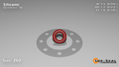 O-Ring, Orange Vinyl Methyl Silicone Size: 202, Durometer: 70 Nominal Dimensions: Inner Diameter: 11/47(0.234) Inches (5.94mm), Outer Diameter: 21/41(0.512) Inches (1.30048Cm), Cross Section: 5/36(0.139) Inches (3.53mm) Part Number: ORSIL202