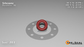 O-Ring, Orange Vinyl Methyl Silicone Size: 203, Durometer: 70 Nominal Dimensions: Inner Diameter: 29/98(0.296) Inches (7.52mm), Outer Diameter: 31/54(0.574) Inches (1.45796Cm), Cross Section: 5/36(0.139) Inches (3.53mm) Part Number: ORSIL203