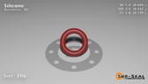 O-Ring, Orange Vinyl Methyl Silicone Size: 206, Durometer: 70 Nominal Dimensions: Inner Diameter: 15/31(0.484) Inches (1.22936Cm), Outer Diameter: 16/21(0.762) Inches (1.93548Cm), Cross Section: 5/36(0.139) Inches (3.53mm) Part Number: ORSIL206