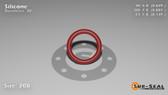 O-Ring, Orange Vinyl Methyl Silicone Size: 208, Durometer: 70 Nominal Dimensions: Inner Diameter: 14/23(0.609) Inches (1.54686Cm), Outer Diameter: 55/62(0.887) Inches (2.25298Cm), Cross Section: 5/36(0.139) Inches (3.53mm) Part Number: ORSIL208