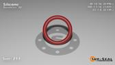 O-Ring, Orange Vinyl Methyl Silicone Size: 211, Durometer: 70 Nominal Dimensions: Inner Diameter: 39/49(0.796) Inches (2.02184Cm), Outer Diameter: 1 2/27(1.074) Inches (2.72796Cm), Cross Section: 5/36(0.139) Inches (3.53mm) Part Number: ORSIL211