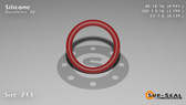 O-Ring, Orange Vinyl Methyl Silicone Size: 213, Durometer: 70 Nominal Dimensions: Inner Diameter: 35/38(0.921) Inches (2.33934Cm), Outer Diameter: 1 1/5(1.199) Inches (3.04546Cm), Cross Section: 5/36(0.139) Inches (3.53mm) Part Number: ORSIL213