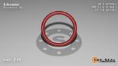 O-Ring, Orange Vinyl Methyl Silicone Size: 214, Durometer: 70 Nominal Dimensions: Inner Diameter: 61/62(0.984) Inches (2.49936Cm), Outer Diameter: 1 11/42(1.262) Inches (3.20548Cm), Cross Section: 5/36(0.139) Inches (3.53mm) Part Number: ORSIL214