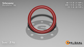 O-Ring, Orange Vinyl Methyl Silicone Size: 216, Durometer: 70 Nominal Dimensions: Inner Diameter: 1 6/55(1.109) Inches (2.81686Cm), Outer Diameter: 1 12/31(1.387) Inches (3.52298Cm), Cross Section: 5/36(0.139) Inches (3.53mm) Part Number: ORSIL216
