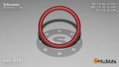 O-Ring, Orange Vinyl Methyl Silicone Size: 217, Durometer: 70 Nominal Dimensions: Inner Diameter: 1 13/76(1.171) Inches (2.97434Cm), Outer Diameter: 1 22/49(1.449) Inches (3.68046Cm), Cross Section: 5/36(0.139) Inches (3.53mm) Part Number: ORSIL217