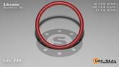O-Ring, Orange Vinyl Methyl Silicone Size: 220, Durometer: 70 Nominal Dimensions: Inner Diameter: 1 14/39(1.359) Inches (3.45186Cm), Outer Diameter: 1 7/11(1.637) Inches (4.15798Cm), Cross Section: 5/36(0.139) Inches (3.53mm) Part Number: ORSIL220