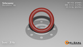 O-Ring, Orange Vinyl Methyl Silicone Size: 316, Durometer: 70 Nominal Dimensions: Inner Diameter: 17/20(0.85) Inches (2.159Cm), Outer Diameter: 1 10/37(1.27) Inches (3.2258Cm), Cross Section: 17/81(0.21) Inches (5.33mm) Part Number: ORSIL316