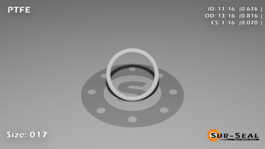 O-Ring, White PTFE/PTFE/TFE Size: 017, Durometer: 75 Nominal Dimensions: Inner Diameter: 48/71(0.676) Inches (1.71704Cm), Outer Diameter: 31/38(0.816) Inches (2.07264Cm), Cross Section: 4/57(0.07) Inches (1.78mm) Part Number: ORTFE017