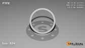 O-Ring, White PTFE/PTFE/TFE Size: 024, Durometer: 75 Nominal Dimensions: Inner Diameter: 1 9/79(1.114) Inches (2.82956Cm), Outer Diameter: 1 16/63(1.254) Inches (3.18516Cm), Cross Section: 4/57(0.07) Inches (1.78mm) Part Number: ORTFE024