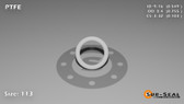 O-Ring, White PTFE/PTFE/TFE Size: 113, Durometer: 75 Nominal Dimensions: Inner Diameter: 28/51(0.549) Inches (1.39446Cm), Outer Diameter: 37/49(0.755) Inches (1.9177Cm), Cross Section: 7/68(0.103) Inches (2.62mm) Part Number: ORTFE113