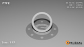 O-Ring, White PTFE/PTFE/TFE Size: 117, Durometer: 75 Nominal Dimensions: Inner Diameter: 4/5(0.799) Inches (2.02946Cm), Outer Diameter: 1(1.005) Inches (2.5527Cm), Cross Section: 7/68(0.103) Inches (2.62mm) Part Number: ORTFE117
