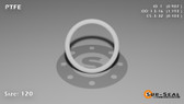 O-Ring, White PTFE/PTFE/TFE Size: 120, Durometer: 75 Nominal Dimensions: Inner Diameter: 76/77(0.987) Inches (2.50698Cm), Outer Diameter: 1 11/57(1.193) Inches (3.03022Cm), Cross Section: 7/68(0.103) Inches (2.62mm) Part Number: ORTFE120