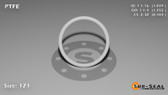O-Ring, White PTFE/PTFE/TFE Size: 121, Durometer: 75 Nominal Dimensions: Inner Diameter: 1 2/41(1.049) Inches (2.66446Cm), Outer Diameter: 1 13/51(1.255) Inches (3.1877Cm), Cross Section: 7/68(0.103) Inches (2.62mm) Part Number: ORTFE121