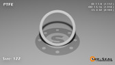 O-Ring, White PTFE/PTFE/TFE Size: 122, Durometer: 75 Nominal Dimensions: Inner Diameter: 1 1/9(1.112) Inches (2.82448Cm), Outer Diameter: 1 7/22(1.318) Inches (3.34772Cm), Cross Section: 7/68(0.103) Inches (2.62mm) Part Number: ORTFE122