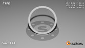 O-Ring, White PTFE/PTFE/TFE Size: 123, Durometer: 75 Nominal Dimensions: Inner Diameter: 1 4/23(1.174) Inches (2.98196Cm), Outer Diameter: 1 19/50(1.38) Inches (3.5052Cm), Cross Section: 7/68(0.103) Inches (2.62mm) Part Number: ORTFE123