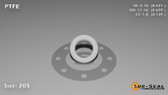 O-Ring, White PTFE/PTFE/TFE Size: 205, Durometer: 75 Nominal Dimensions: Inner Diameter: 8/19(0.421) Inches (1.06934Cm), Outer Diameter: 65/93(0.699) Inches (1.77546Cm), Cross Section: 5/36(0.139) Inches (3.53mm) Part Number: ORTFE205