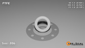 O-Ring, White PTFE/PTFE/TFE Size: 206, Durometer: 75 Nominal Dimensions: Inner Diameter: 15/31(0.484) Inches (1.22936Cm), Outer Diameter: 16/21(0.762) Inches (1.93548Cm), Cross Section: 5/36(0.139) Inches (3.53mm) Part Number: ORTFE206