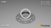 O-Ring, White PTFE/PTFE/TFE Size: 208, Durometer: 75 Nominal Dimensions: Inner Diameter: 14/23(0.609) Inches (1.54686Cm), Outer Diameter: 55/62(0.887) Inches (2.25298Cm), Cross Section: 5/36(0.139) Inches (3.53mm) Part Number: ORTFE208