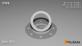 O-Ring, White PTFE/PTFE/TFE Size: 211, Durometer: 75 Nominal Dimensions: Inner Diameter: 39/49(0.796) Inches (2.02184Cm), Outer Diameter: 1 2/27(1.074) Inches (2.72796Cm), Cross Section: 5/36(0.139) Inches (3.53mm) Part Number: ORTFE211