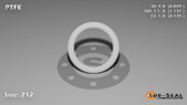 O-Ring, White PTFE/PTFE/TFE Size: 212, Durometer: 75 Nominal Dimensions: Inner Diameter: 67/78(0.859) Inches (2.18186Cm), Outer Diameter: 1 10/73(1.137) Inches (2.88798Cm), Cross Section: 5/36(0.139) Inches (3.53mm) Part Number: ORTFE212