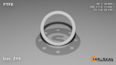 O-Ring, White PTFE/PTFE/TFE Size: 214, Durometer: 75 Nominal Dimensions: Inner Diameter: 61/62(0.984) Inches (2.49936Cm), Outer Diameter: 1 11/42(1.262) Inches (3.20548Cm), Cross Section: 5/36(0.139) Inches (3.53mm) Part Number: ORTFE214
