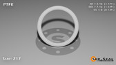 O-Ring, White PTFE/PTFE/TFE Size: 217, Durometer: 75 Nominal Dimensions: Inner Diameter: 1 13/76(1.171) Inches (2.97434Cm), Outer Diameter: 1 22/49(1.449) Inches (3.68046Cm), Cross Section: 5/36(0.139) Inches (3.53mm) Part Number: ORTFE217