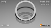 O-Ring, White PTFE/PTFE/TFE Size: 220, Durometer: 75 Nominal Dimensions: Inner Diameter: 1 14/39(1.359) Inches (3.45186Cm), Outer Diameter: 1 7/11(1.637) Inches (4.15798Cm), Cross Section: 5/36(0.139) Inches (3.53mm) Part Number: ORTFE220