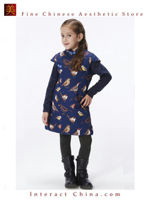 Handmade Girls Cotton Dress Overcoat Chinese Cheongsam Qipao Kids Clothing #202