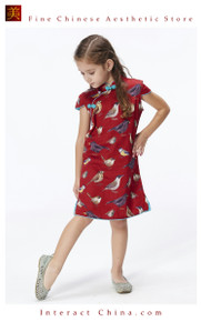 Handmade Girls Dress Chinese Cheongsam Qipao Children Kids Cotton Clothing #102