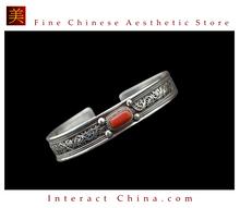 Fine Tibetan Turquoise Coral Jewelry 925 Silver Charm Bracelet 100% Handcraft #105