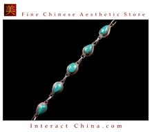 Fine Tibetan Turquoise Coral Jewelry 925 Silver Charm Bracelet 100% Handcraft #109