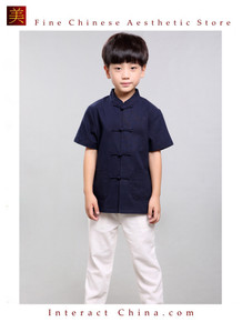 100% Handmade Boys Kung Fu Tai Chi Shirt Martial Arts Costume Kids Uniform #101