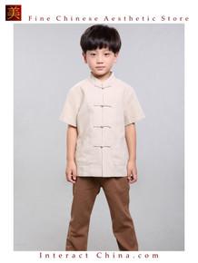 100% Handmade Boys Kung Fu Tai Chi Shirt Martial Arts Costume Kids Uniform #104