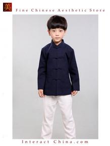 100% Handmade Boys Long Sleeve Kung Fu Tai Chi Martial Arts Kids Jacket #101