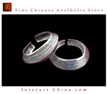 Tribal Silver Cuff Bracelet Chinese Ethnic Hmong Miao Jewelry One Pair #210 Unique Handmade