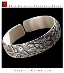 Fine 999 Cuff Bracelet High Purity Sterling Silver Jewelry 100% Handcrafted #112