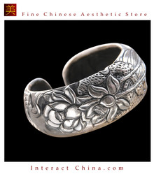 Fine 999 Cuff Bracelet High Purity Sterling Silver Jewelry 100% Handcrafted #129