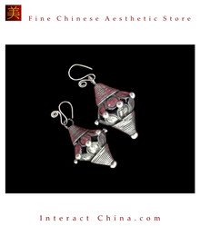 Tribal Silver Earrings Chinese Ethnic Hmong Miao Jewelry #103 Uniquely Handmade