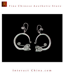 Tribal Silver Earrings Chinese Ethnic Hmong Miao Jewelry #108 Uniquely Handmade