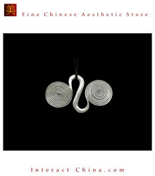 100% Handmade Miao Tribal Silver Pendant Chain Necklace for Women #107