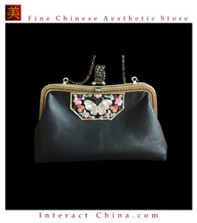 100% Hand Embroidery Handbag Purse Clutch Evening Bag #201