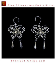 Tribal Silver Earrings Chinese Ethnic Hmong Miao Jewelry #104 Uniquely Handmade