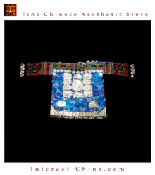 Tribal Vintage Clothing Costume Dress - Hmong Miao Silk Brocade Silver Ornament Jacket #102YP