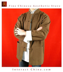 100% Cotton Brown Kung Fu Martial Arts Tai Chi Jacket Coat XS-XL or Tailor Custom Made