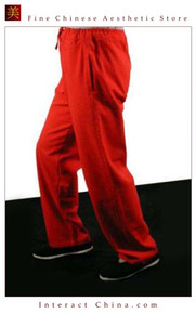 Premium Linen Red Kung Fu Martial Art Taichi Pant Trousers XS-XL or Tailor Custom Made