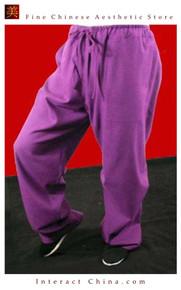 Premium Linen Purple Kung Fu Martial Art Taichi Pant Trousers XS-XL or Tailor Custom Made