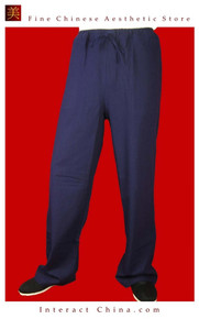 Fine Linen Blue Kung Fu Martial Arts Taichi Pant Trousers XS-XL or Tailor Custom Made