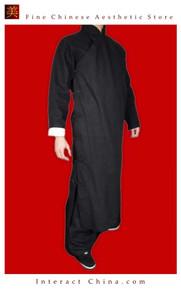 Fine Linen Black Kung Fu Martial Arts Tai Chi Long Coat Robe XS-XL or Tailor Custom Made